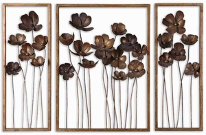 Metal Tulips Wall Art Set With Antiqued Gold Leaf and Gray Wash Brand Uttermost