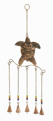 Metal Turtle Wind Chime with Exquisite Design in Copper Finished Brand Woodland
