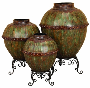 Metal Urns Vases with Stand in Rustic Brown and Green - Set of 3 Brand Woodland
