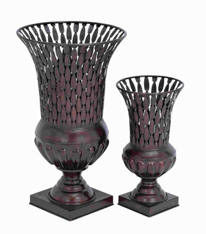 Metal Vase with Petal Patterns and Intricate Design (Set of 2) Brand Woodland
