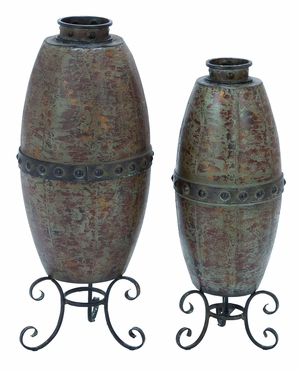 Metal Vase with Rustic Design & Opulent Appeal - Set of 2 Brand Woodland
