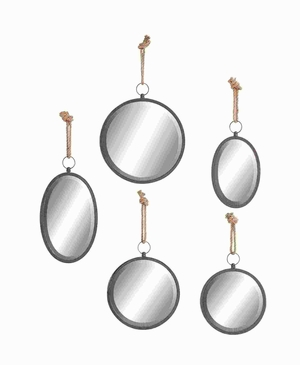 Metal W Mirror in Round Shape with Elegant Design (Set of 5) Brand Woodland