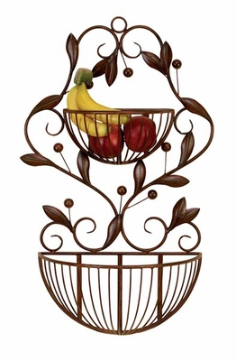 Metal Wall Basket in Brown Finish with Spherical Design Brand Woodland