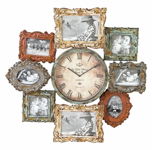 Metal Wall Clock with Eight Photo Frames, 25 Inch Height, 25 Inch Width Brand Woodland
