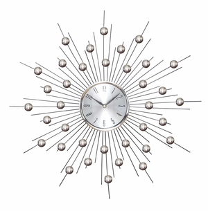 "Metal Wall Clock with Star Burst Design, 20"" Diameter, 5 1/4"" Face Brand Woodland"