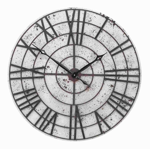 Metal Wall Clock with White Background and Chocolate Brown Metal Brand Woodland