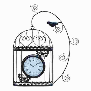 Metal Wall Clock with White Background and Roman Numerals Brand Woodland