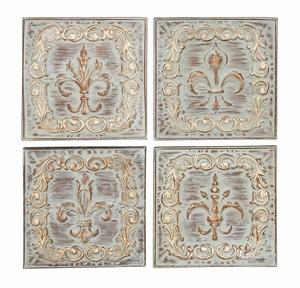 Metal Wall Decor 4 Assorted Carved With Fluer-De-Lis Theme Brand Woodland