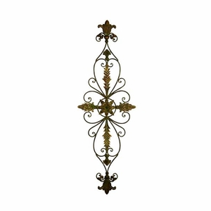 Metal Wall Decor in Circular Pattern Carved with Floral Design Brand Woodland