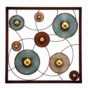 Metal Wall Decor in Glossy Finish with Geometrical Design Brand Woodland