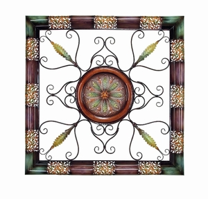 Metal Wall Decor in Square Shape with Intricate Detailing Brand Woodland