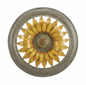 Metal Wall Decor in Yellow and Bronze Finish with Antiqued Design Brand Woodland