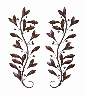 Metal Wall Decor Pr Crafted with Leafy Pattern in Brown Brand Woodland