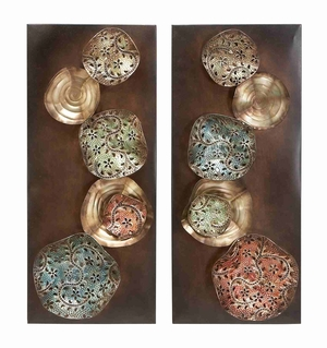 Metal Wall Decor Sculpture Crafted New Stone Art - Set of 2 Brand Woodland