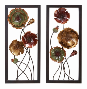 Metal Wall Decor Set of 2 Floral Sculpture, 32 Inch Height, 14 Inch Width Brand Woodland