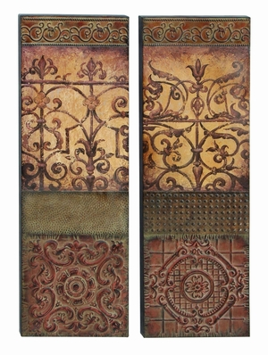 Metal Wall Decor with Artistic Design and Detailing - Set of 2 Brand Woodland