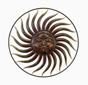 Metal Wall Decor with Smiling Sun Figure in Brown and Burgundy Brand Woodland