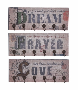 Metal Wall Hooks 3 Assorted With Dream, Prayer And Love Inspiring Words Brand Woodland