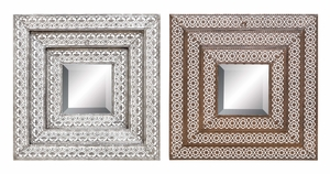 Metal Wall Mirror 2 Assorted With Three Broad Rectangular Crafted Frame Brand Woodland