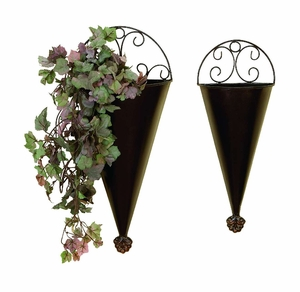Metal Wall Planter in Conical Shape with Brown Enamel - Set of 2 Brand Woodland