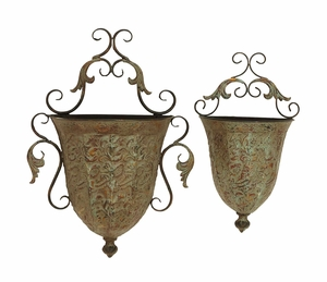 Metal Wall Planter with Artistic Detail & Rustic Look - Set of 2 Brand Woodland
