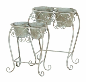 Metal Wall Planter with Curved Legs and Rustic Finish - Set of 2 Brand Woodland