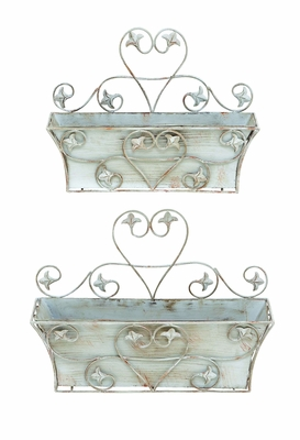 Metal Wall Planter with Rustic and Classic Look - Set of 2 Brand Woodland