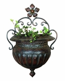 Metal Wall Planter with Rustic Appearnce and Antiqued Finish Brand Woodland