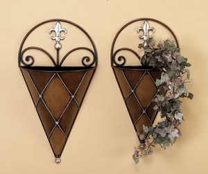 Metal Wall Planters in Bronze with Artistic Design - Set of 2 Brand Woodland