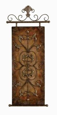 Metal Wall Plaque Crafted with Artistic Detailing in Gold Finish Brand Woodland
