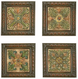 Metal Wall Plaque in Brown Finish with Abstract Design - Set of 4 Brand Woodland