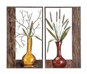 Metal Wall Plaque in Multi Color with Artistic Design - Set of 2 Brand Woodland