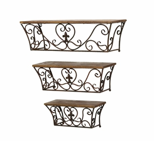 Metal Wall Shelf with Classic Charm and Sublime Curves - Set of 3 Brand Woodland