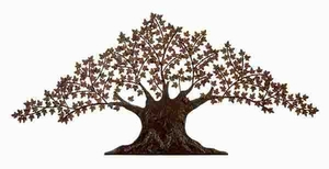 Metal Wall Tree Decor with Fine Detailing in Glossy Brown Finish Brand Woodland
