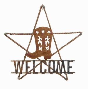 Metal Welcome Sign in Striking Antique Shades with Boot Design Brand Woodland