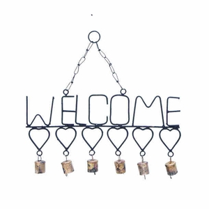 Metal Welcome Wind Chimes with Gangling Metal Hearts and Bells Brand Woodland