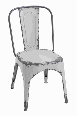Metal White Chair with Wide Flat Seat & Slightly Curved Backrest Brand Woodland