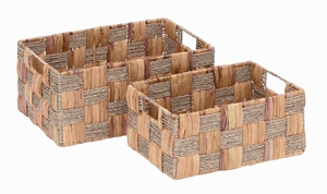 Metal Wicker Basket with Spaciously Designed (Set of 2) Brand Woodland