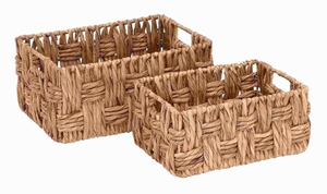 Metal Wicker Basket with Wicker Basket Pattern (Set of 2) Brand Woodland