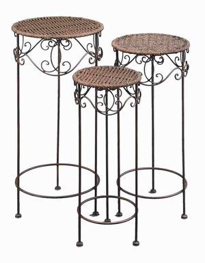 Metal Wicker Plant Stand with European Style - Set of 3 Brand Woodland