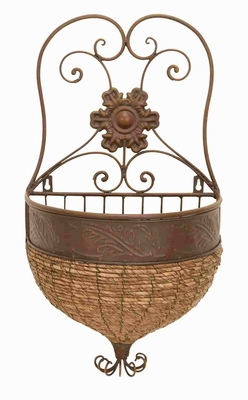 Metal Wicker Wall Planter in Brown Finish with Rustic Look Brand Woodland