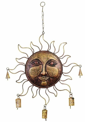 Metal Wind Sun Face Chime in Golden Finish with Fine Detailing Brand Woodland