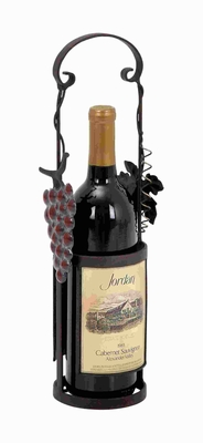 Metal Wine Holder Decorated with Vine and Tendril accents Brand Woodland