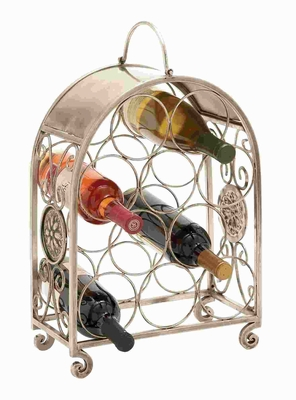 Metal Wine Holder in Exquisite Floral Design with Fine Crafting Brand Woodland