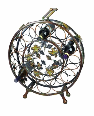 Metal Wine Holder with Grapes and Leaf Design in Brown Finish Brand Woodland