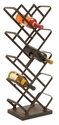 Metal Wine Holder With Great Bottle Storage In Zigzag Pattern Brand Woodland