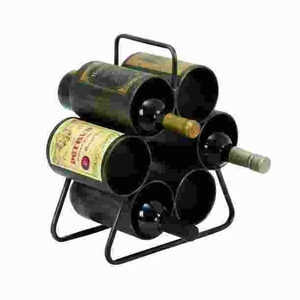 Metal Wine Rack for Six Bottles with Space Saving Design Brand Woodland