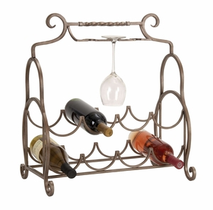 Metal Wine Rack with Wine Glass Holder 23 Inch Height, 19 Inch Width Brand Woodland