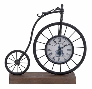 Metal Wood Bike Clock With Vintage Class Sporty Look Brand Woodland