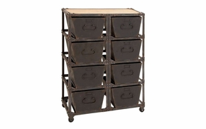 Metal Wood Cabinet With Eight Bottom Racks In 4 X 2 Pattern Brand Woodland